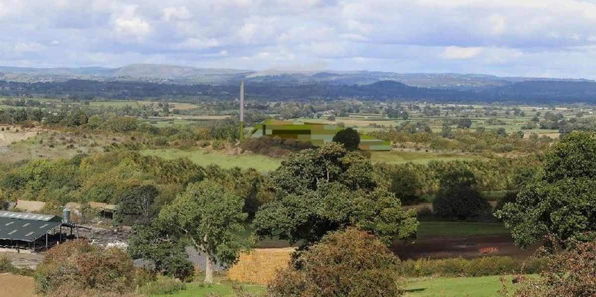 Buttington Incinerator Graphic - how the facility could look as part of the Severn valley landscape near Welshpool