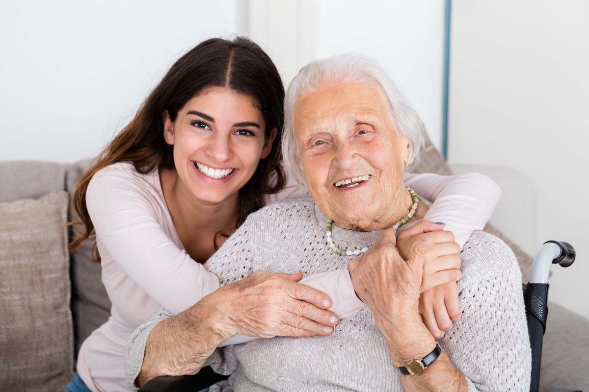 A happy daughter and grandmother.