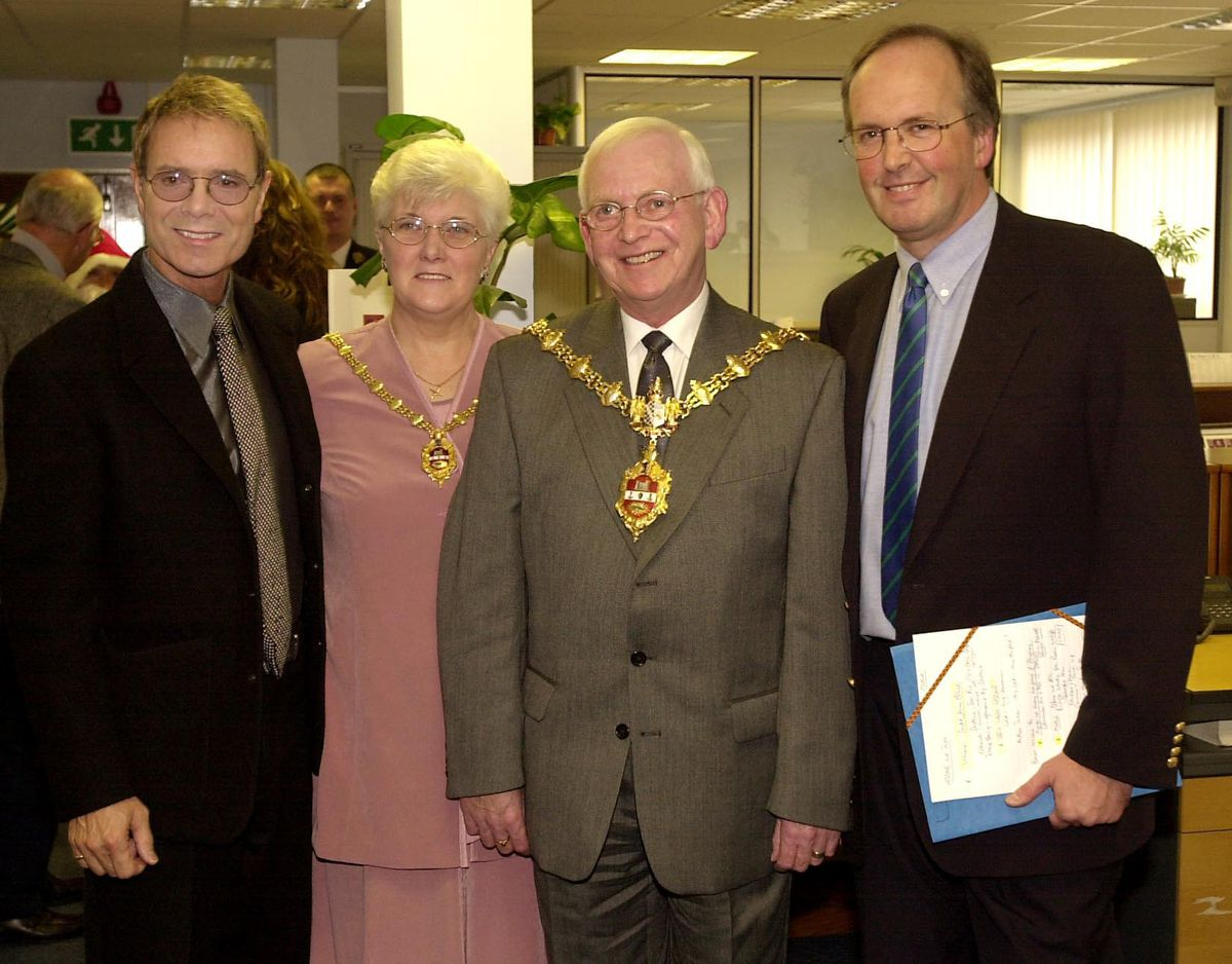 Sir Cliff Richard, left and Dave Pope, right, with then Mayor and Mayoress of Dudley Councillor George Davies and his wife George at the opening of the Saltmine Trust offices in Dudley