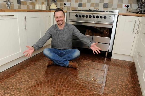 penny kitchen floor telford uses 1p pieces to cover his kitchen floor 1461
