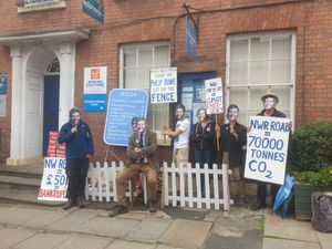 Protesters outside Ludlow MP Philip Dunne's constituency office where they called on him to oppose plans for Shrewsbury's North West Relief Road