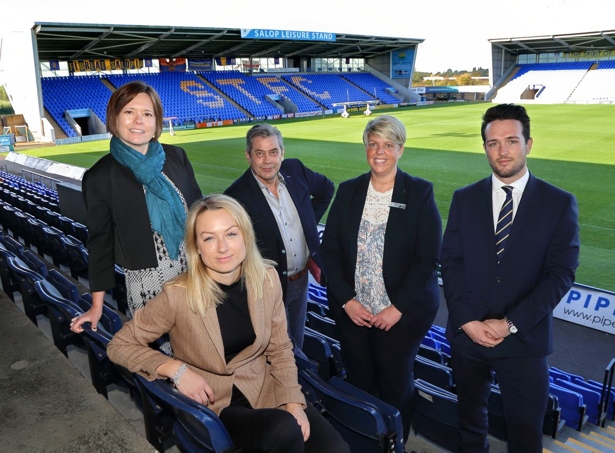 Gemma Davies, head of economic growth at Shropshire Council, Jayne Robb of Recycling UK, speaker Rod Plummer from Shoothill, the chamber's Teresa Rowe and Lewis Benson of Crown Wealth Management