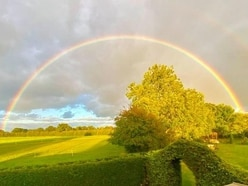 Dazzling rainbow over Shropshire as September showers announce autumn