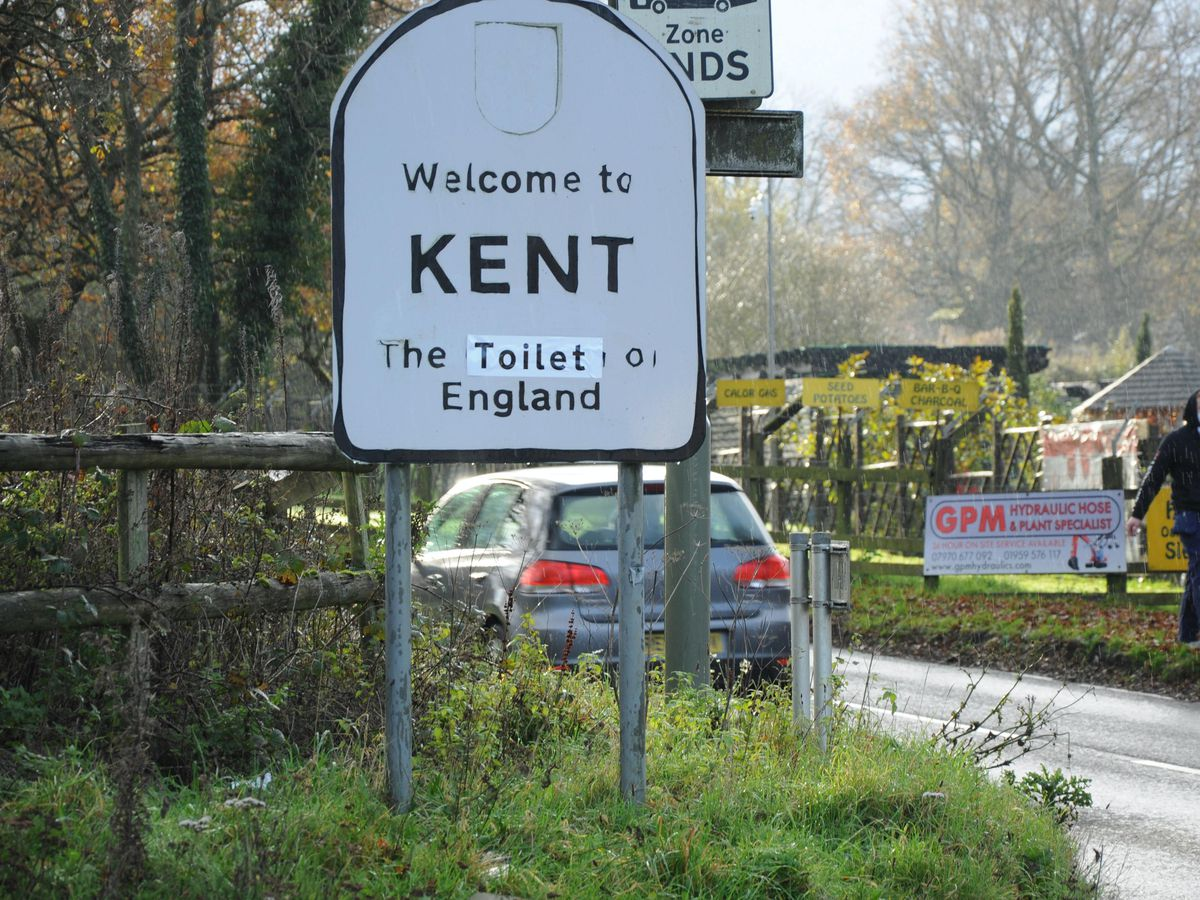 One of the altered 'Welcome to Kent' signs