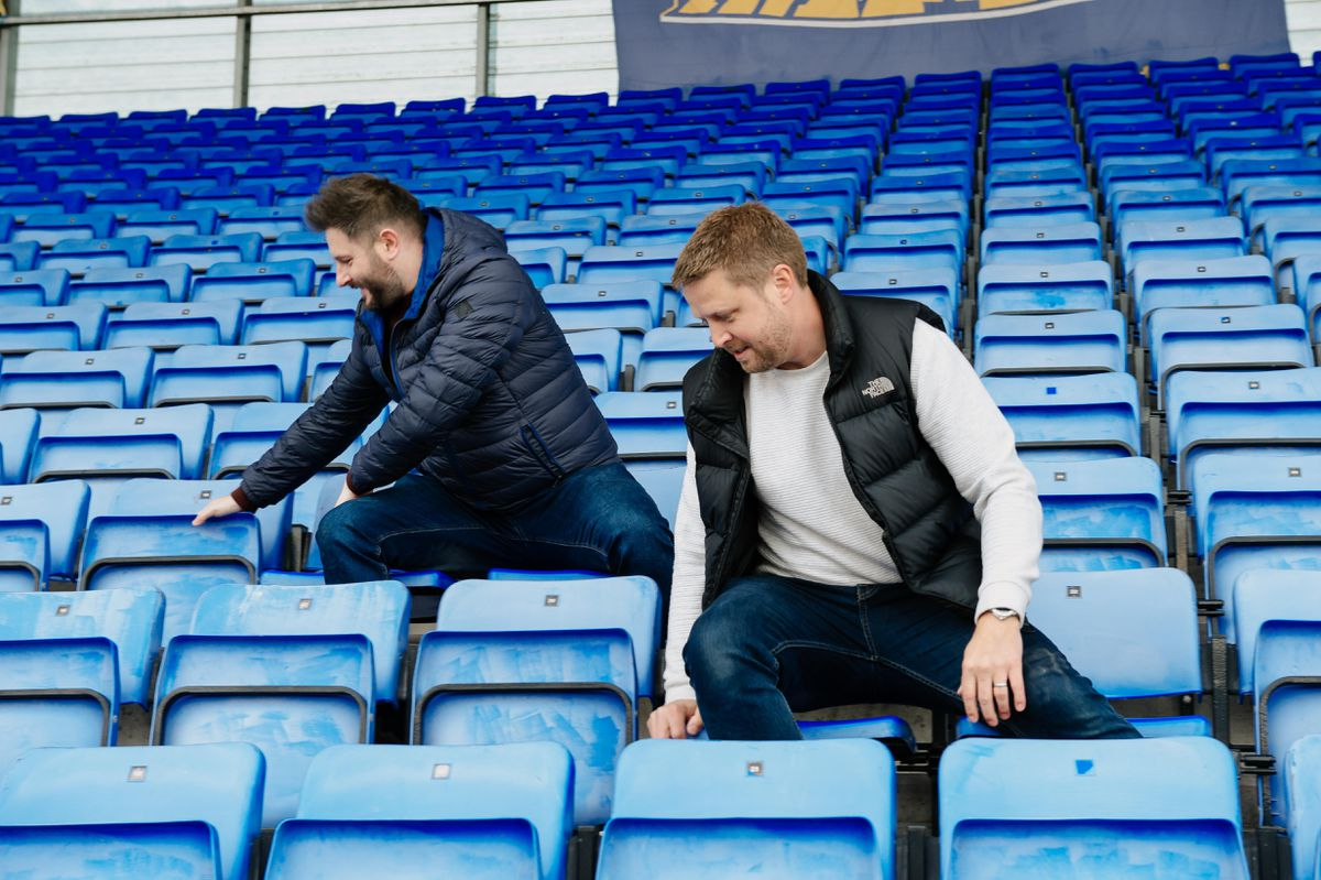 Ben Vale (right) and Andy Tamplin will be sitting on every seat of Shrewsbury Town's Montgomery Waters Meadow Stadium, raising money to help Bridgnorth youngster Gunner Lewis-Vale. Gunner is Ben's nephew and he needs an urgent stem cell transplant.