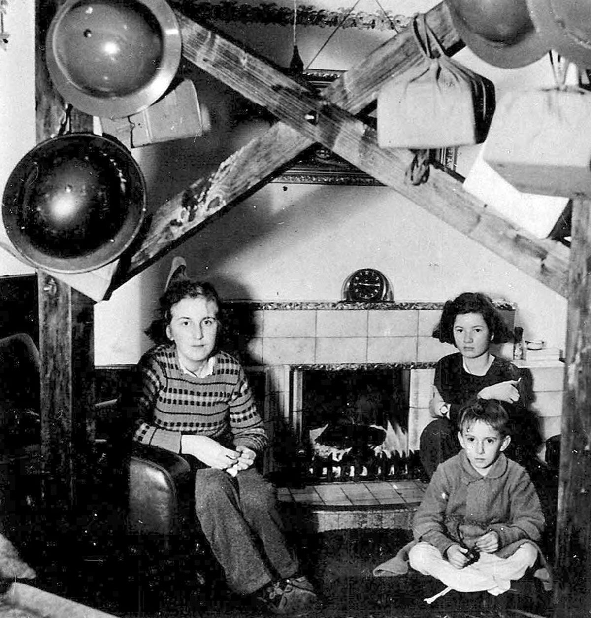 Christmas 1940, with the ceiling of the home of the Roden family in Bridgnorth braced in case of bomb damage.