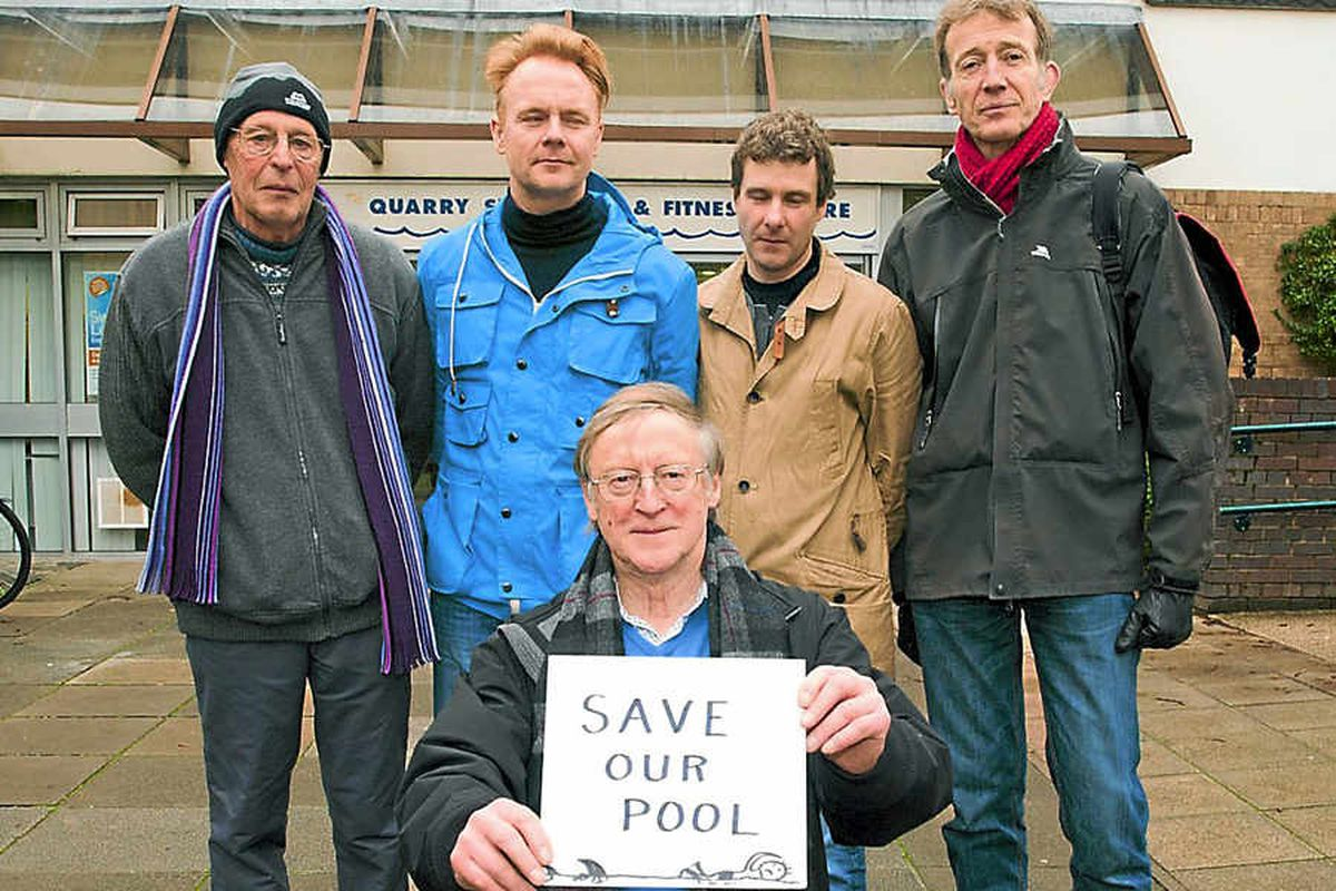 Protesters at the Quarry Swimming Pool, Ray Holliday, Chris Archibald, Simon Atkinson, Pete Beasley and Nick Richards