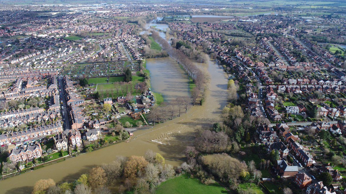 Flood barriers hold back a mass of water in Shrewsbury