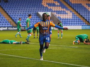 Daniel Udoh of Shrewsbury Town celebrates after scoring a goal to make it 1-0. (AMA)