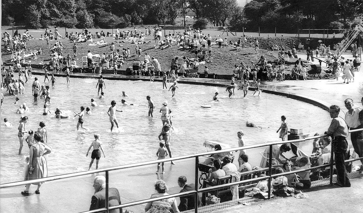 Summer play at East Park Pool, Wolverhampton, in 1959