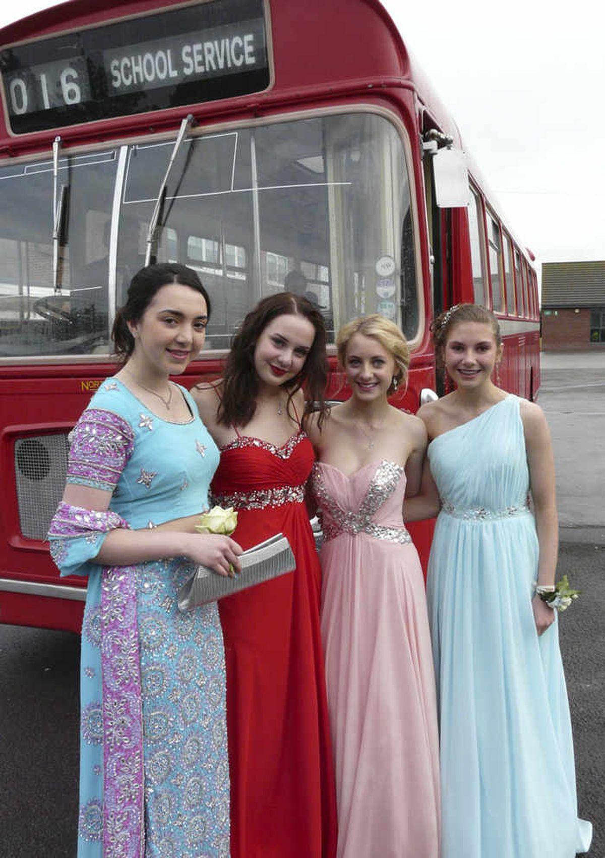 It was a journey by old-fashioned bus for Naomi Yates, Emily Jones, Chloe Hammond and Ffion Jones at at Grange School, Shrewsbury