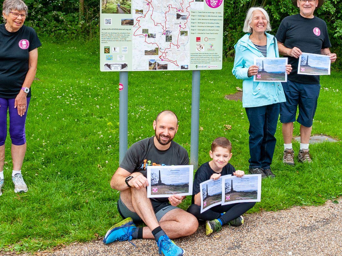 Celebrating the second birthday of the Telford 50 Mile Trail from left to right are: Naomi Wrighton, Matthew Ashton, William Ashton, Iris Warnock and Chas Kay