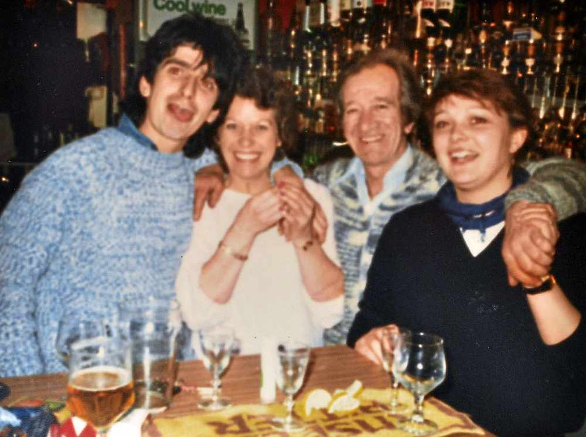Gary at the Tankerville Arms, Longden, with publican dad Ernie, step-mum Joy and pal