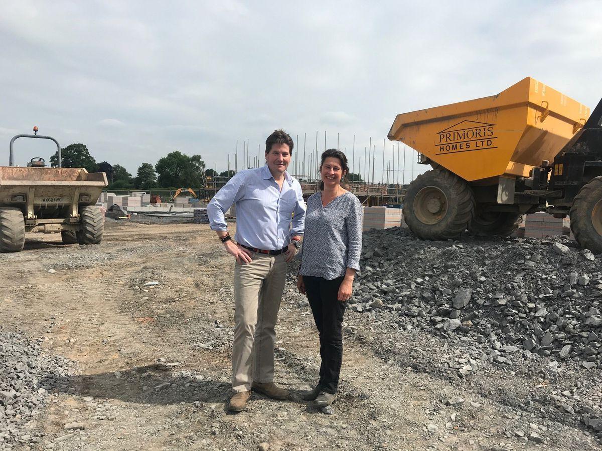 Brynkinallt custodians Iain and Kate Hill-Trevor  on the land at St Martins