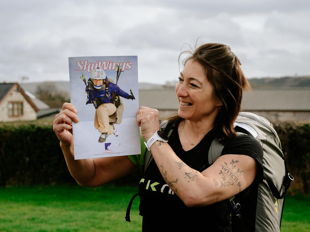 """Sian Leavesley of Leavesley Aviation Paragliding School in Bishops Castle, has been featured on the front cover of this month's edition of """"Skywings"""" magazine. Photo: Mark Leavesley"""