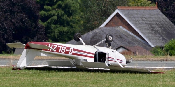 Pilot Scrambles Free As Plane Ends Up On Roof At Halfpenny