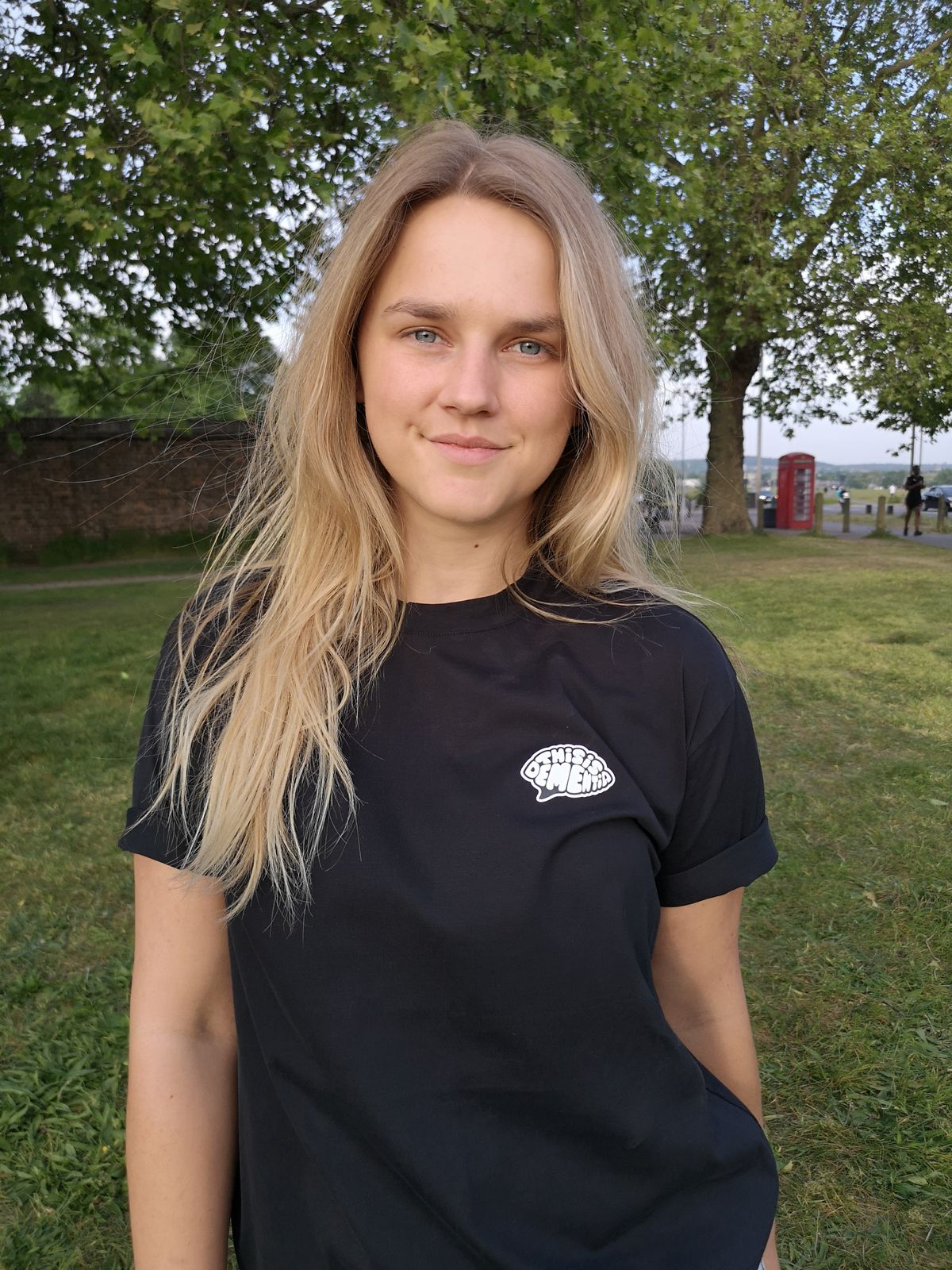 Lizzie Perry in one of the This is Dementia T-shirts
