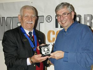 John Coxill presents its first Life Membership to (right) Mark Burroughs