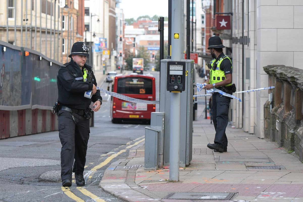 Police officers cordon off Colmore Row. Photo: SnapperSK
