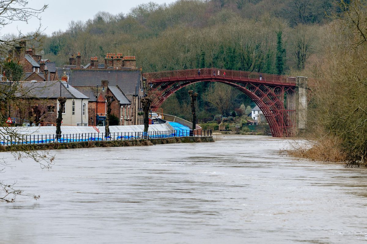 Flood defences in Ironbridge less than two weeks ago