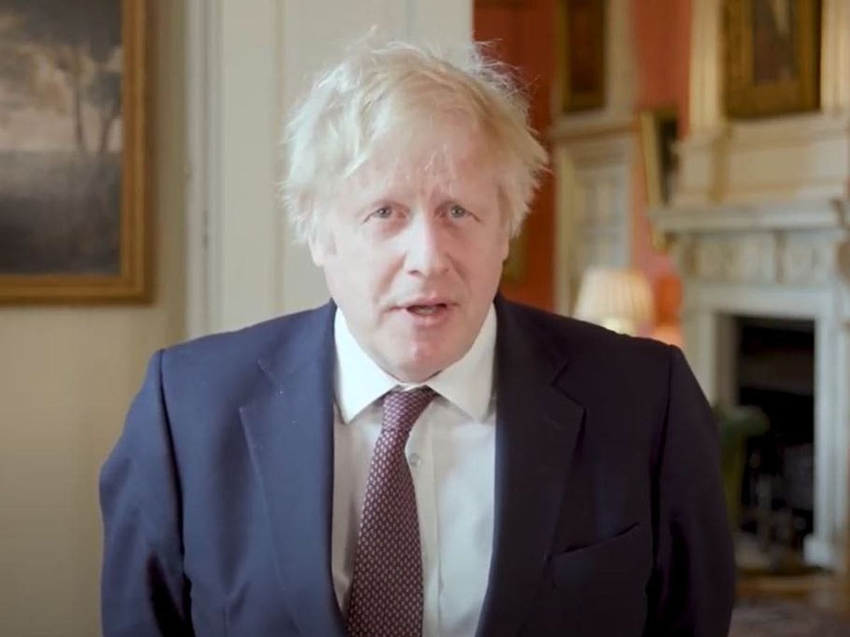Screen grab from footage issued by the Police Federation of Prime Minister Boris Johnson remotely giving a surprise address to the Police Federation of England and Wales annual conference from 10 Downing Street (Police Federation/PA)