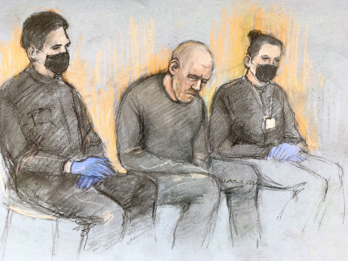 Court artist sketch of serving police constable Wayne Couzens appearing in the dock at Westminster Magistrates' Court