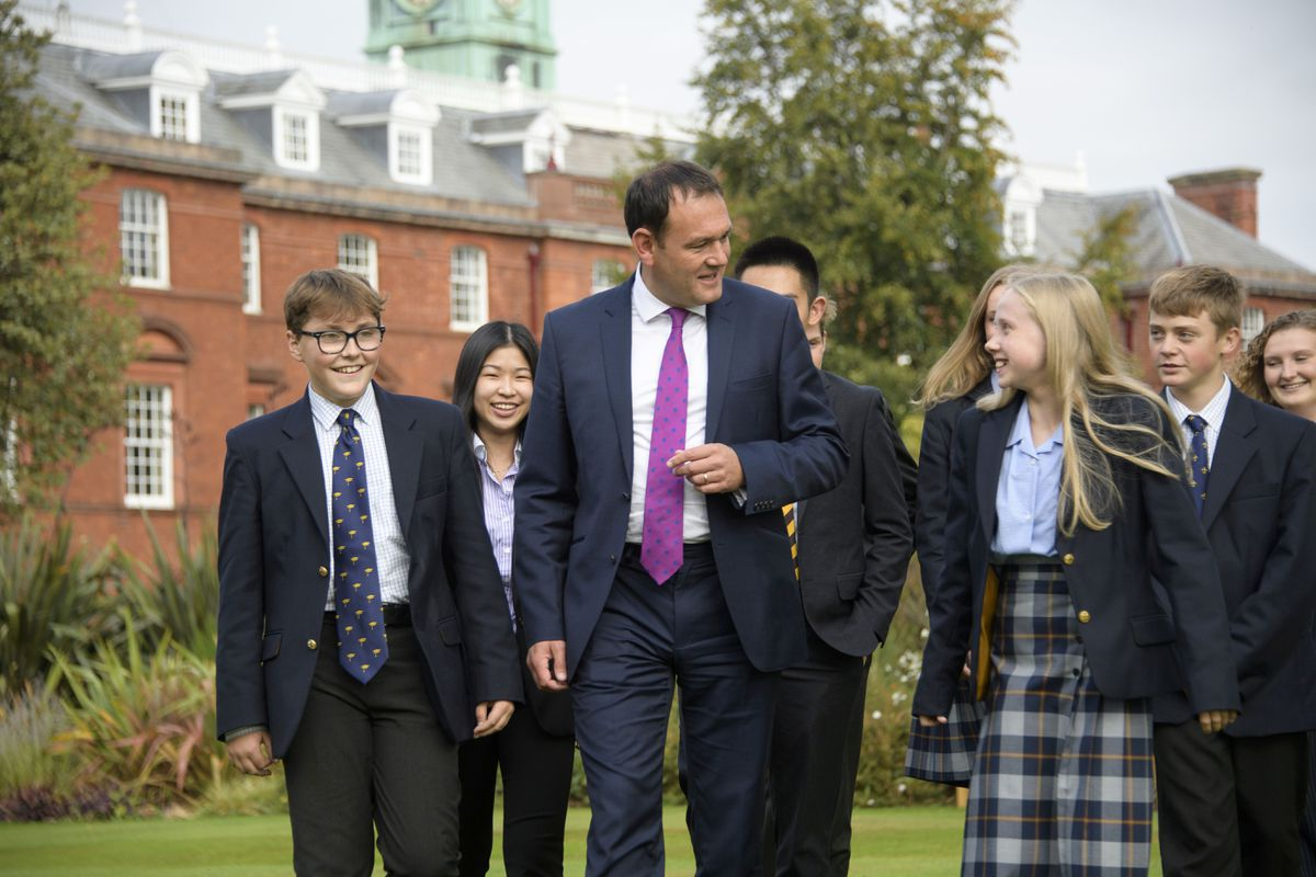 Shrewsbury School headmaster Leo Winkley with pupils