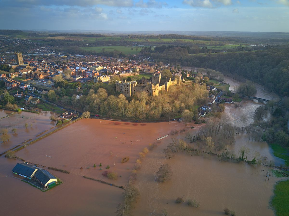 Aerial photos show Ludlow flooding after Storm Dennis. Photo: Luke Smith/Lukazure