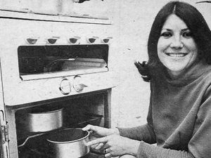 Mrs Diane Clayton (or Claydon, spellings varied) with her converted cooker in June 1969
