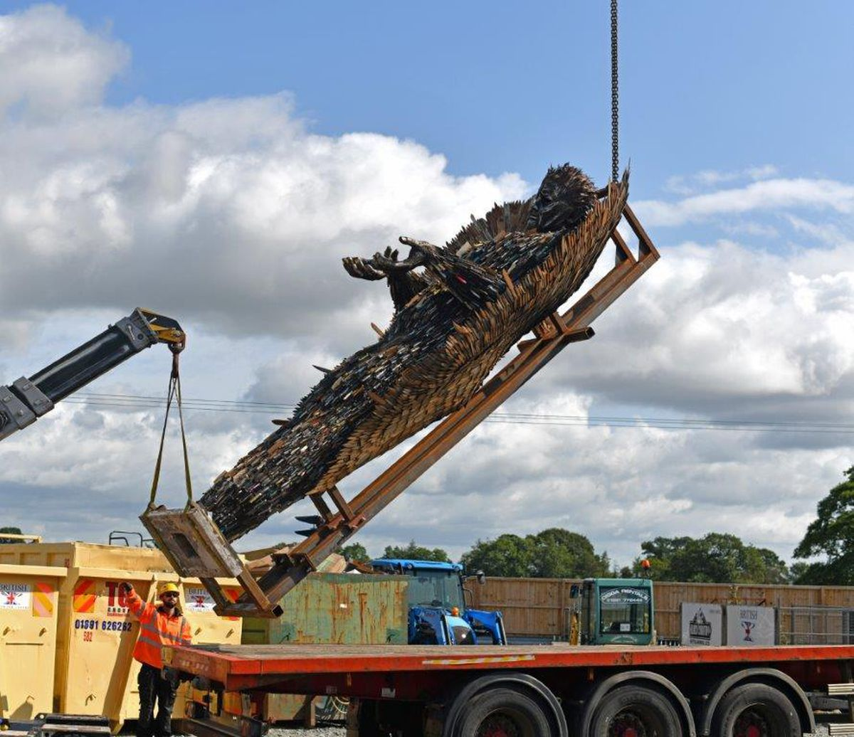 The knife angel being loaded up on a lorry