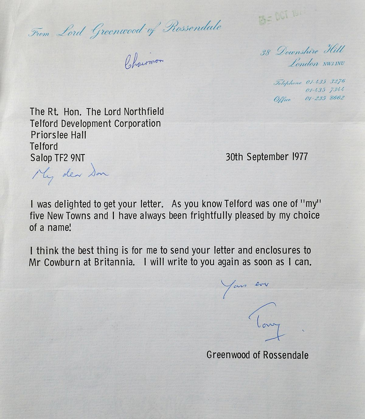 This letter found in a Shropshire attic confirms Tony Greenwood as the minister who came up with the Telford name.