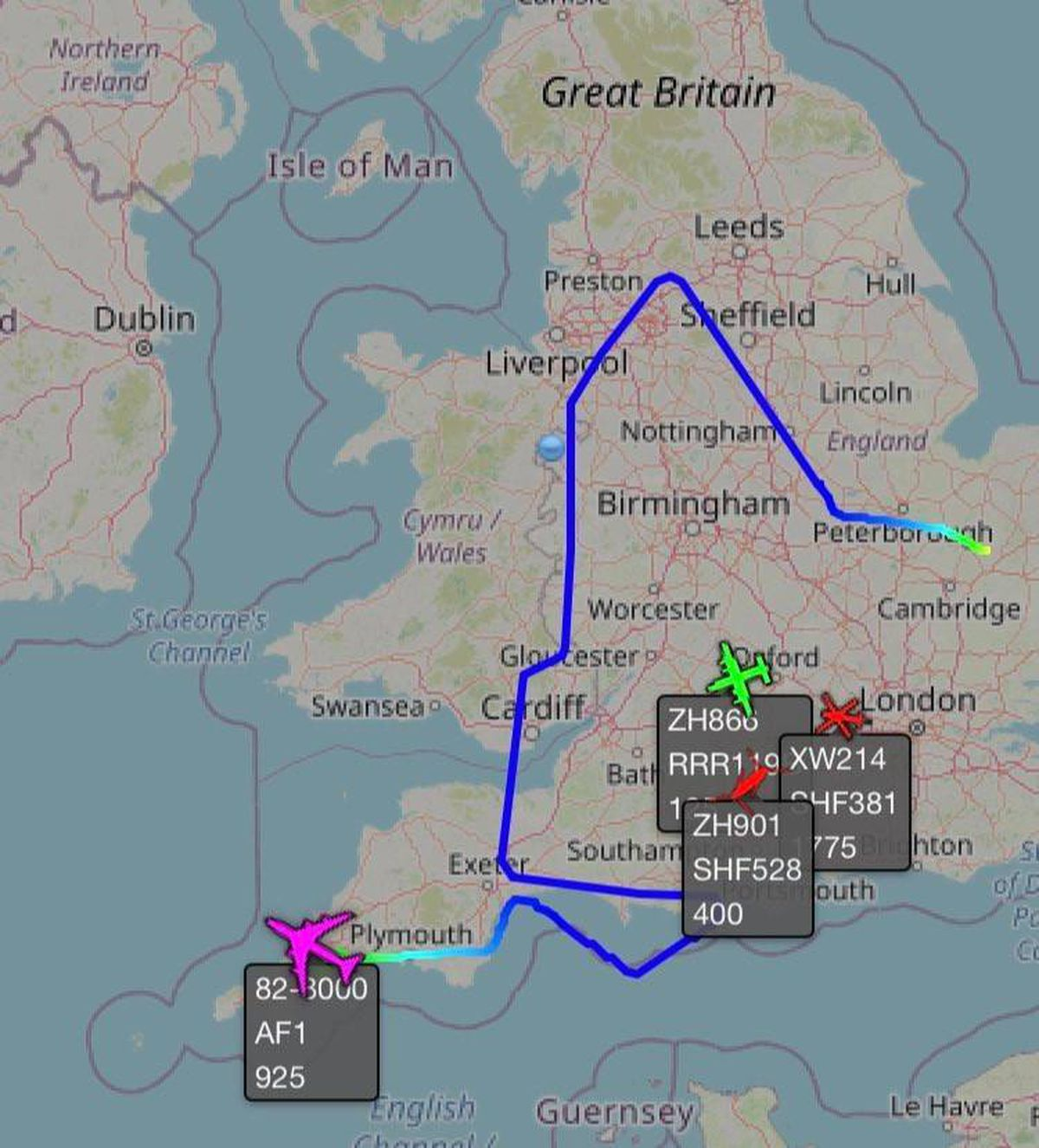 Air Force One's flight from RAF Mildenhall in Suffolk to Newquay in Cornwall - via Shropshire