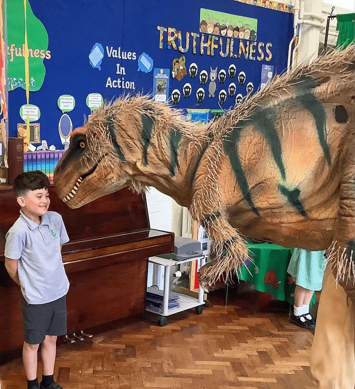 Franky Petherbridge-Smyth with the dinosaur