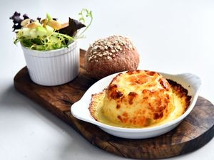 Simply delicious – the vintage cheddar soufflé with apple and almond and homemade bread proved to be a truly divine starter