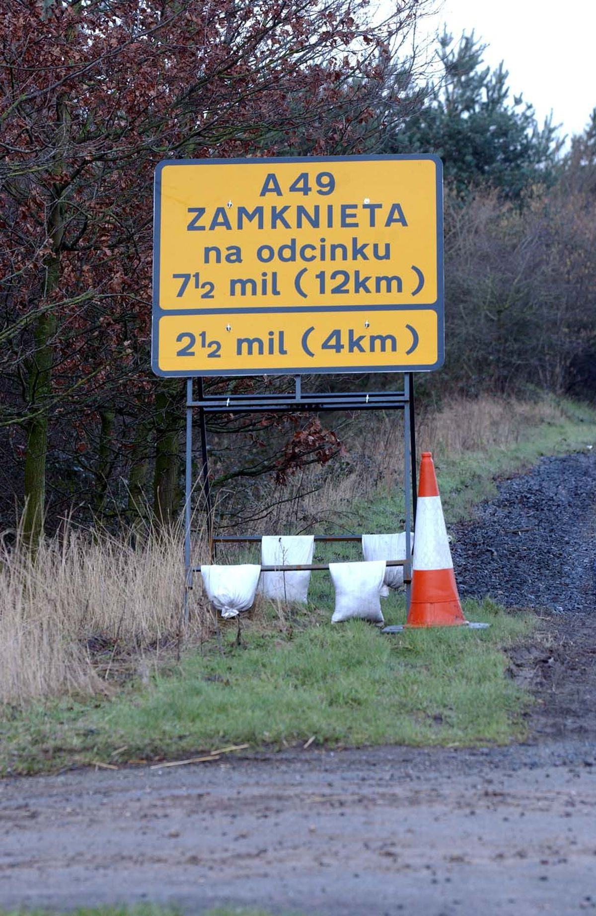 Motorists were left scratching their heads by the roadworks signs