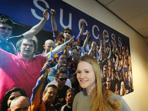 Michelle Crowe attending a previous apprenticeship event at Shrewsbury Town