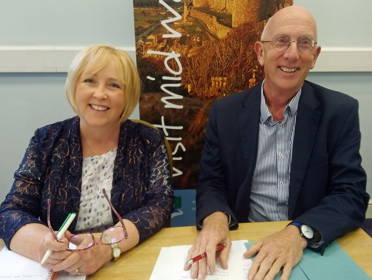 New WTA chair Suzy Davies with her predecessor Andrew Campbell.