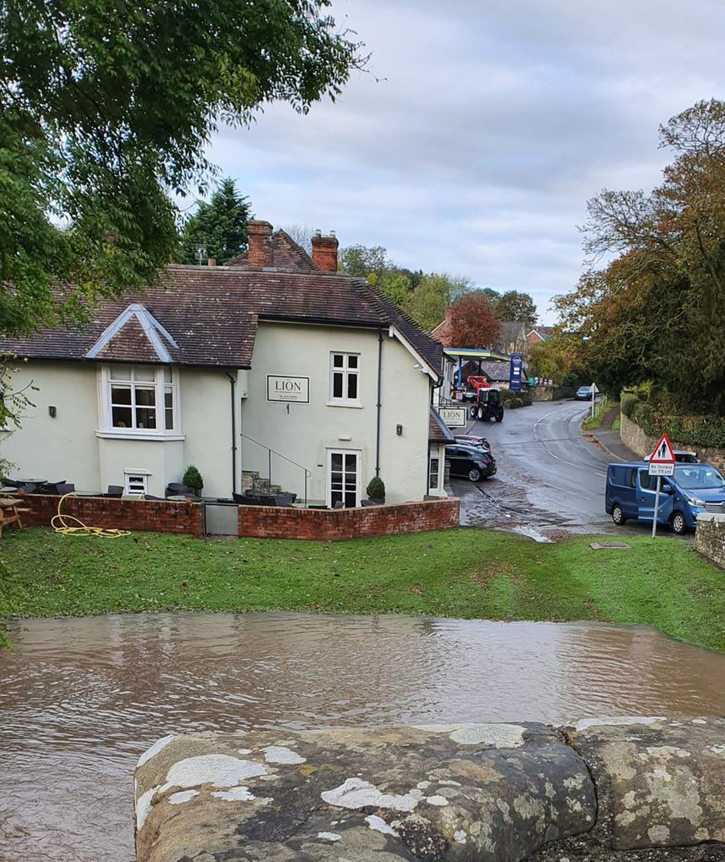 The flooding in Leintwardine at around 5pm last night. Pic: @StormChaseUK