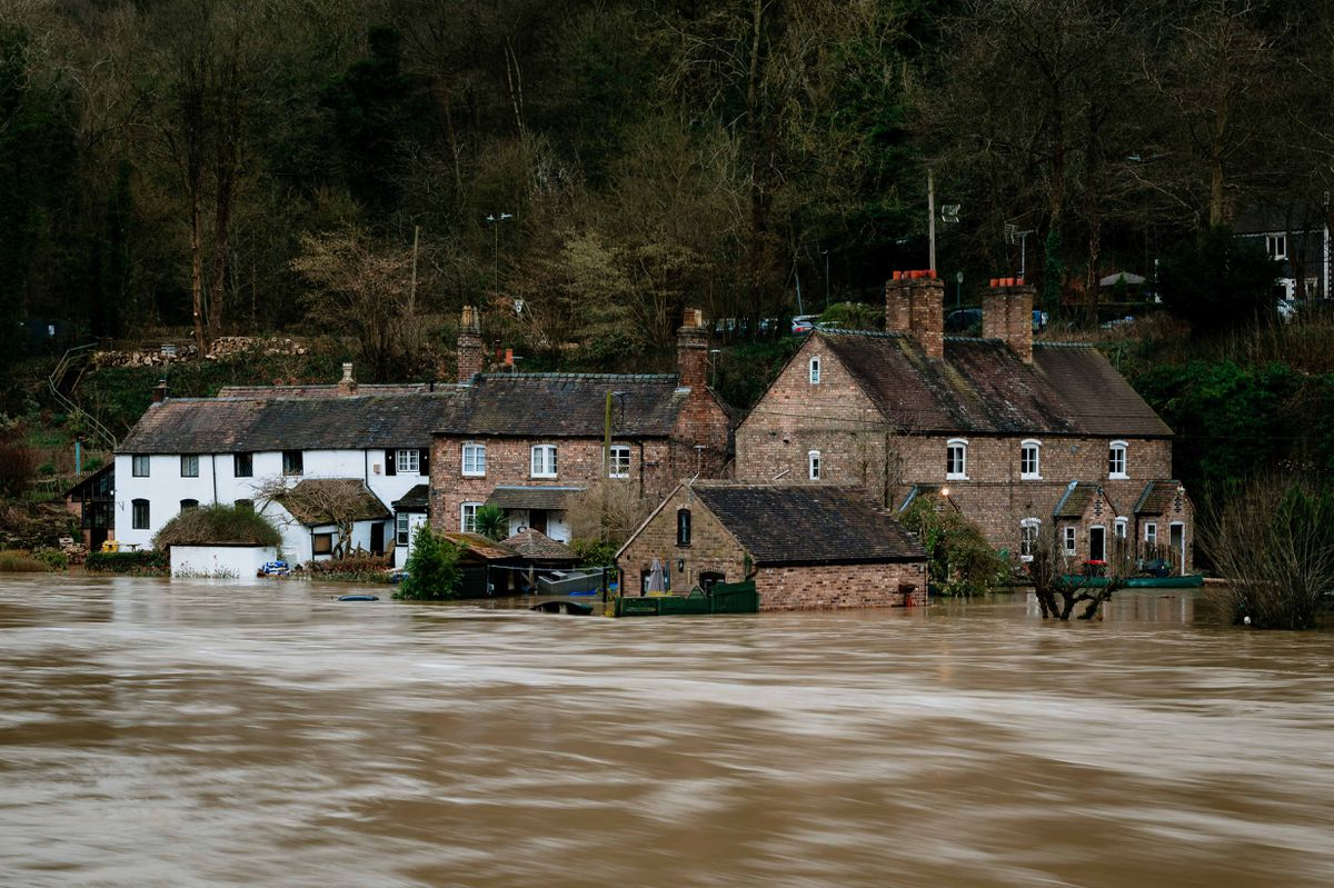 Fast moving water in Ironbridge on Tuesday