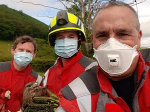 Firefighters with Brian after his rescue