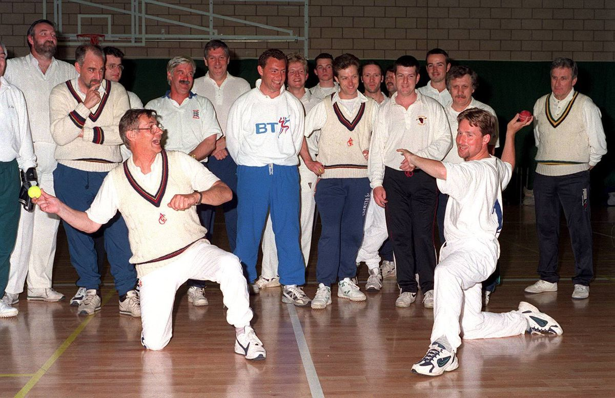 Specialist throwing coach of the English Cricket Board puts Brian Foulkes through his paces at an open session for cricketers at Lilleshall Sports Centre