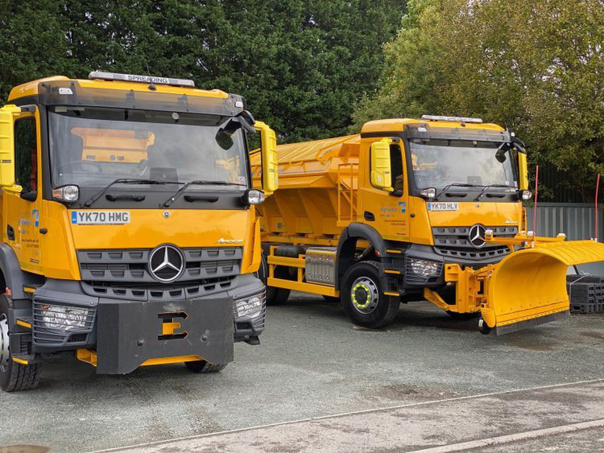 Two of the Shropshire gritters that will receive their new name