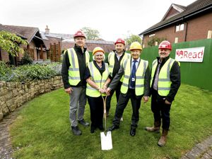Read Construction is one of the first corporate sponsors. Pictured turf cutting for a refurbishment scheme at the hospice, before the pandemic areLee Bell, Eluned Griffiths (Chair Nightingale House), Alex Read, Steve Parry (CEO Nightingale House) and Billy McCormack