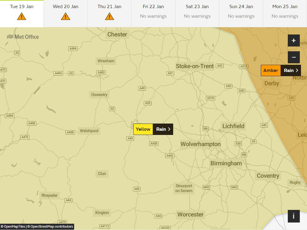 The Met Office has issued a yellow weather warning for rain, which is set to remain until Friday. Pic: www.metoffice.gov.uk