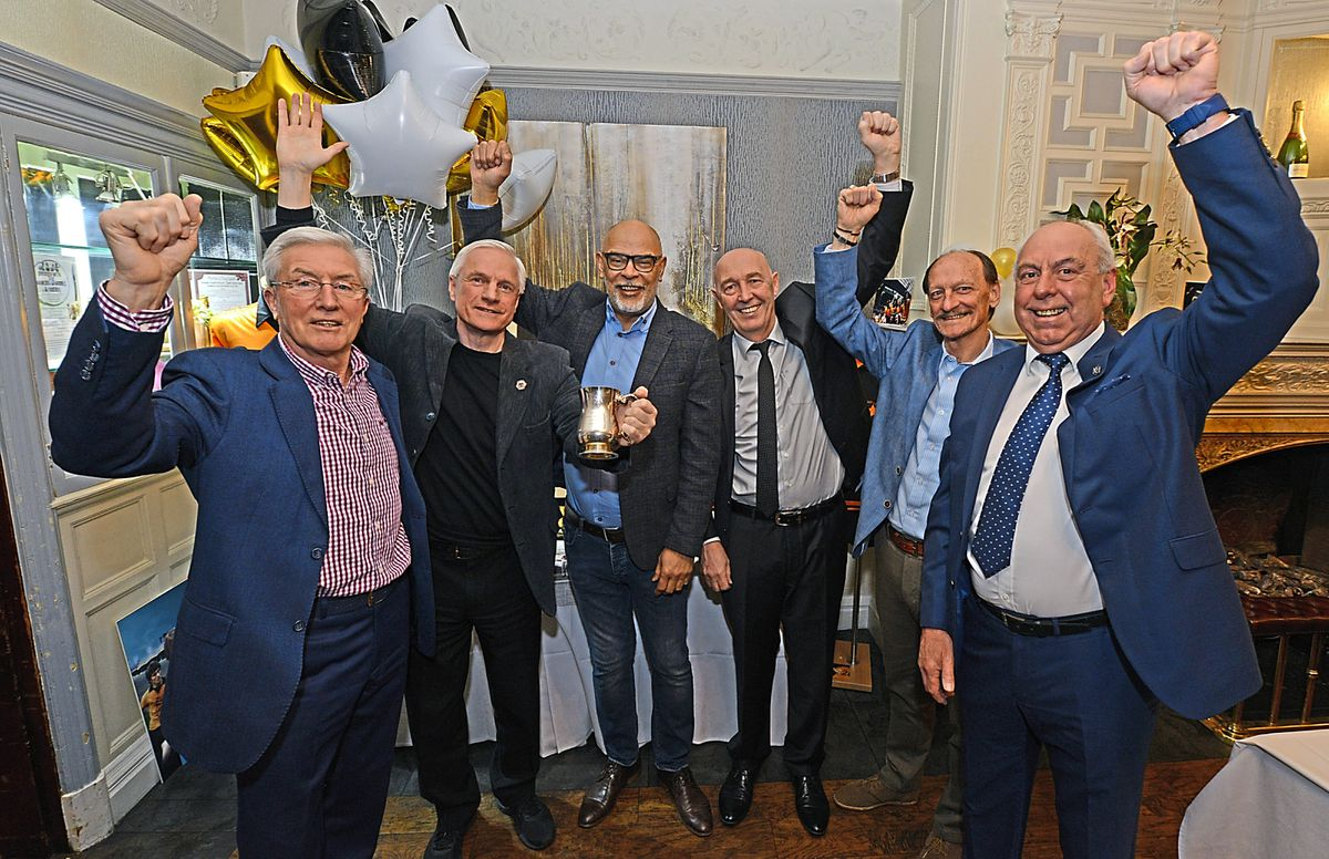 Pictured L-R: John Richards, Mel Eves, George Berry, Norman Bell, Kenny Hibbit and Geoff Palmer as they come together to celebrate the 40th Anniversary of Wolves League Cup Final Success against Nottingham Forest in March 1980.