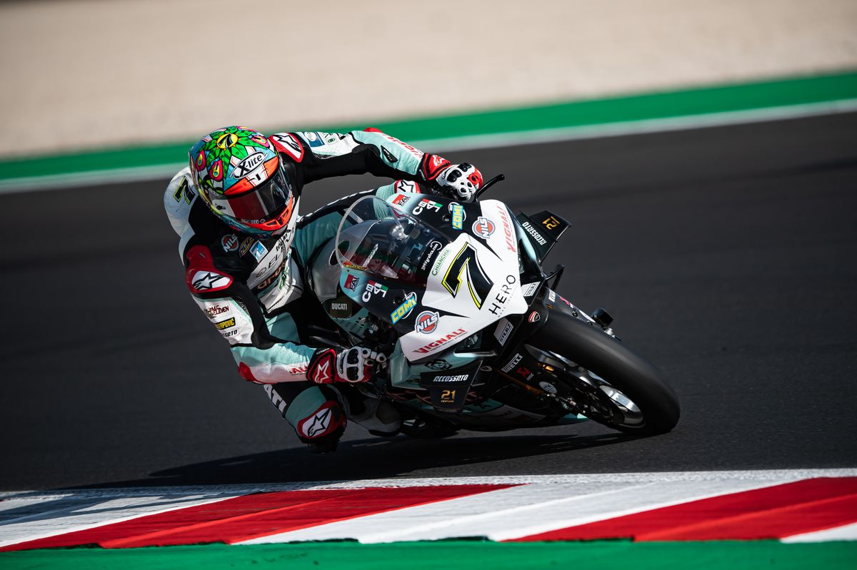 Davies had good pace again before crashing out. Picture: Gorini Luca