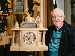 Tony Quinn from Ruyton-XI-Towns with one of the clocks he makes and sells for different charities and causes
