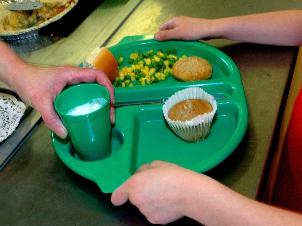A school meal being served