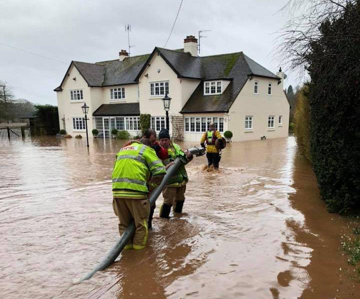 Flooding on the A442 at Danesford, near Bridgnorth, during Storm Dennis. Photo: Bridgnorth Fire Station