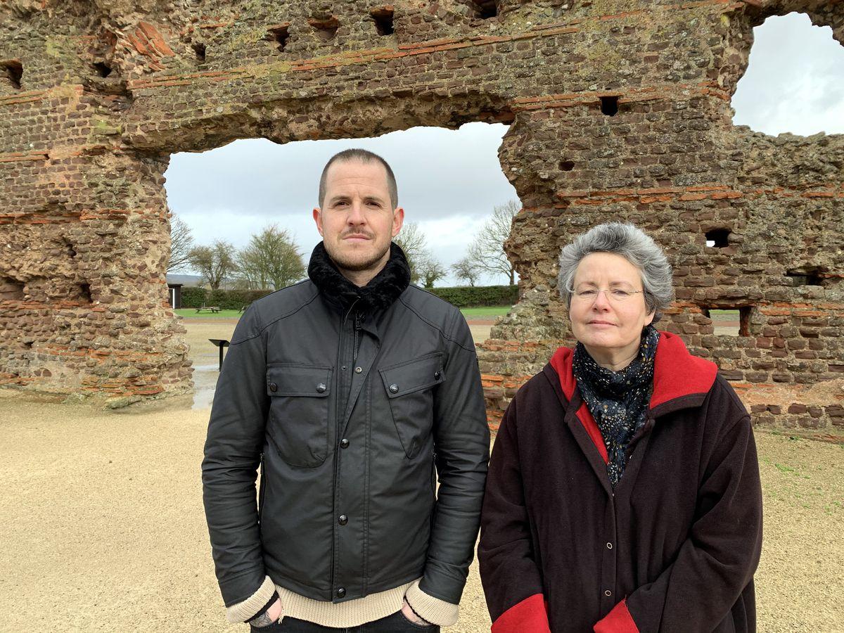 Dan Jones with Wroxeter Roman City site curator Cameron Moffett